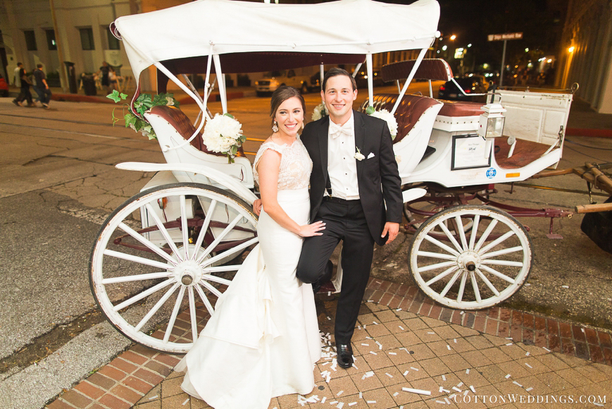 bride and groom carriage ride galveston
