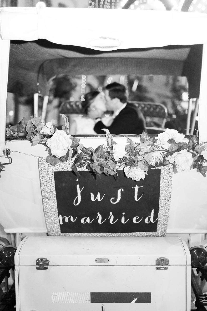 just married carriage bride groom getaway