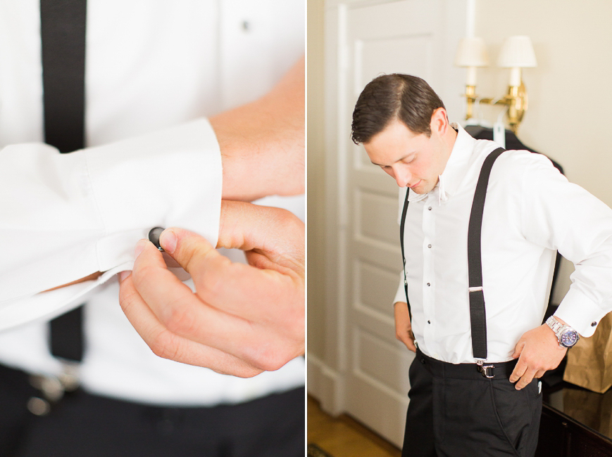 classic black and white tux groom getting dressed