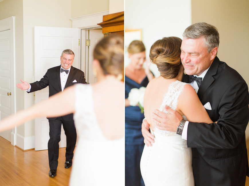 happy dad hugging bride