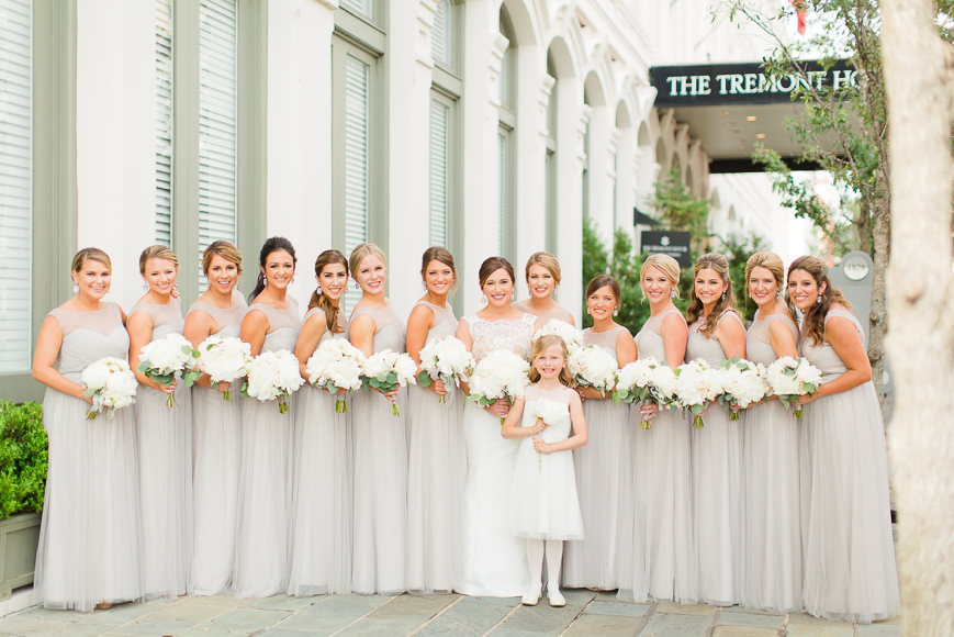 grey chiffon bridesmaid dresses white floral bouquets
