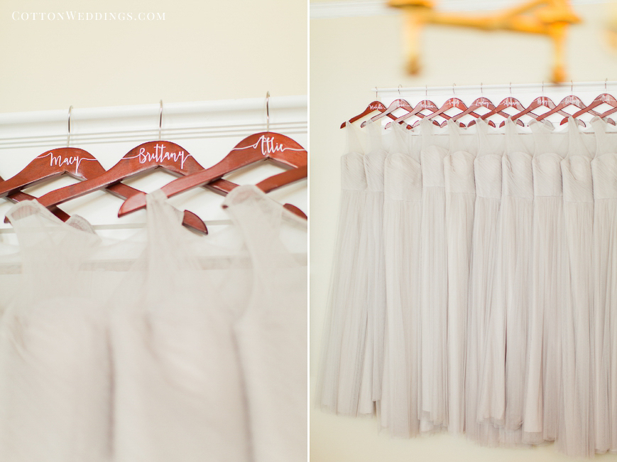 bridesmaid dresses hanging custom hangers