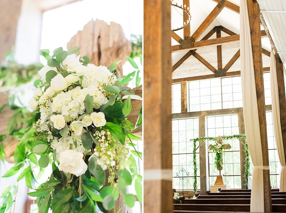 big sky barn wedding ceremony cross details