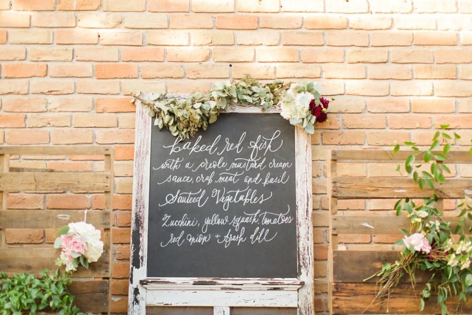 wedding menu chalkboard sign