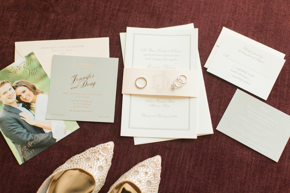 classic wedding invitation with blush and gold