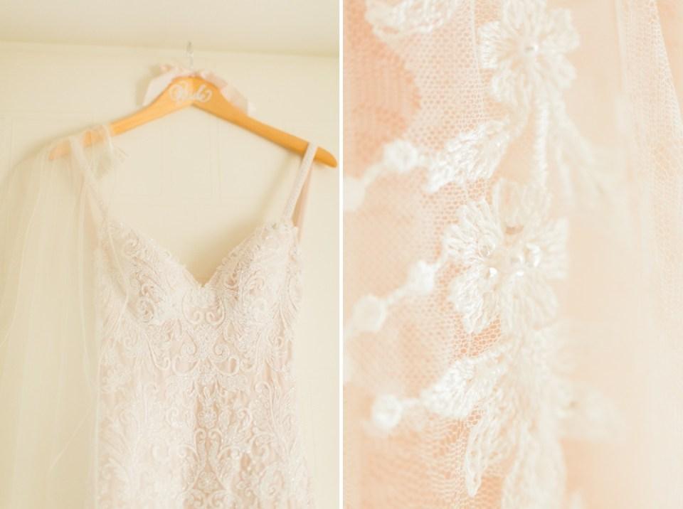 blush wedding dress details