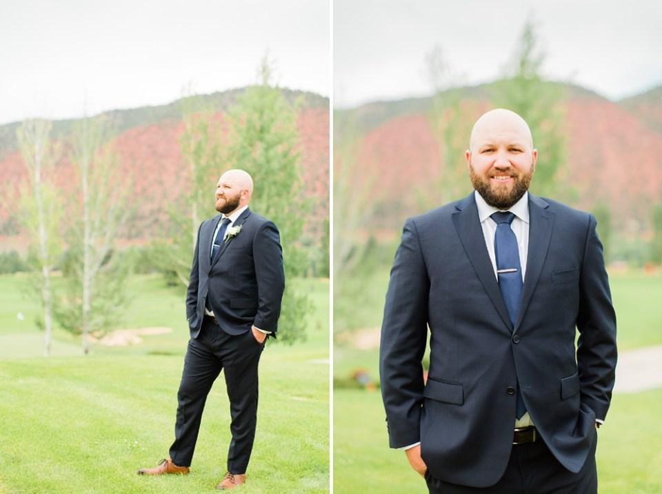 blue suit groom colorado wedding