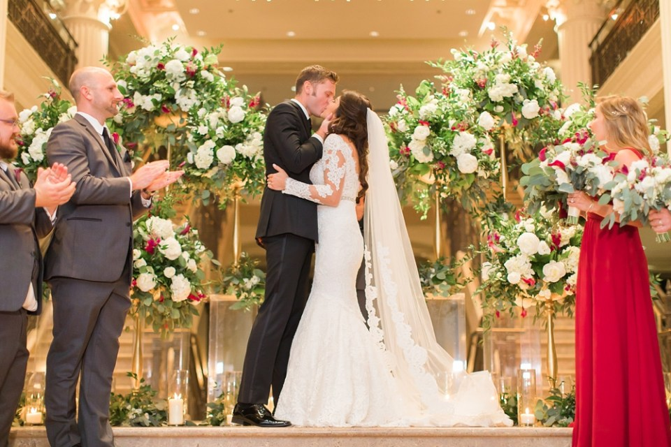 The Corinthian Wedding Bride and Groom First Kiss