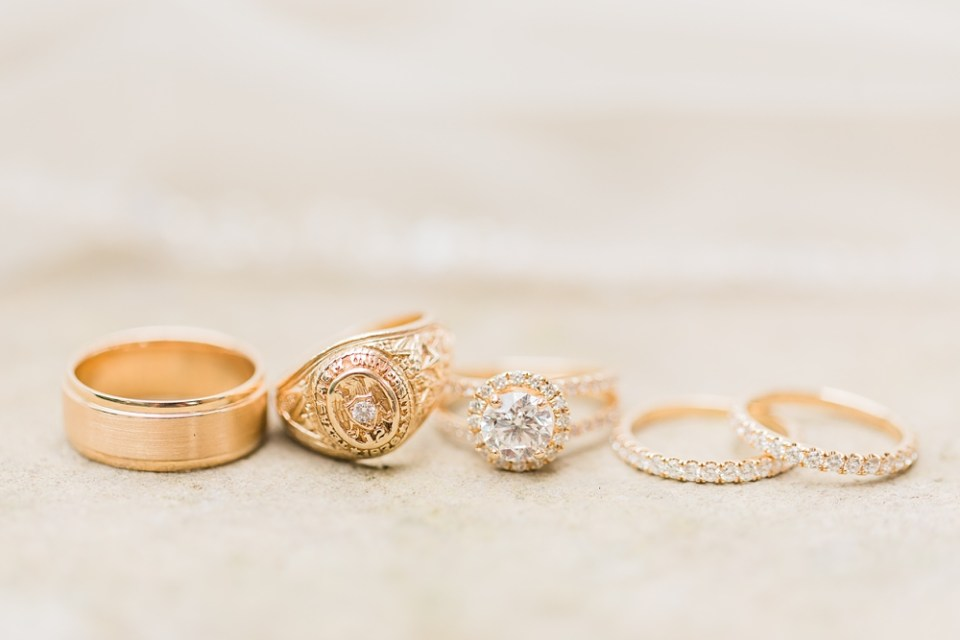 Bride and groom ring details