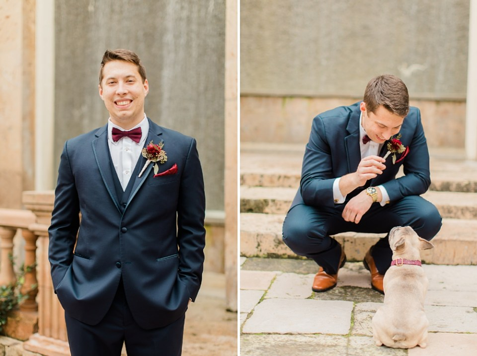 groom and frenchie bull dog puppy