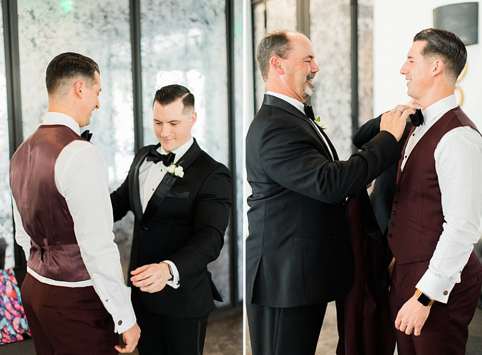 father and groom getting ready