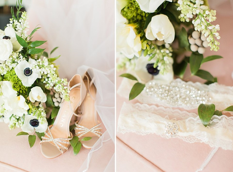 bride shoes and florals