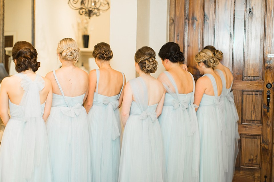 bride surprising bridesmaids