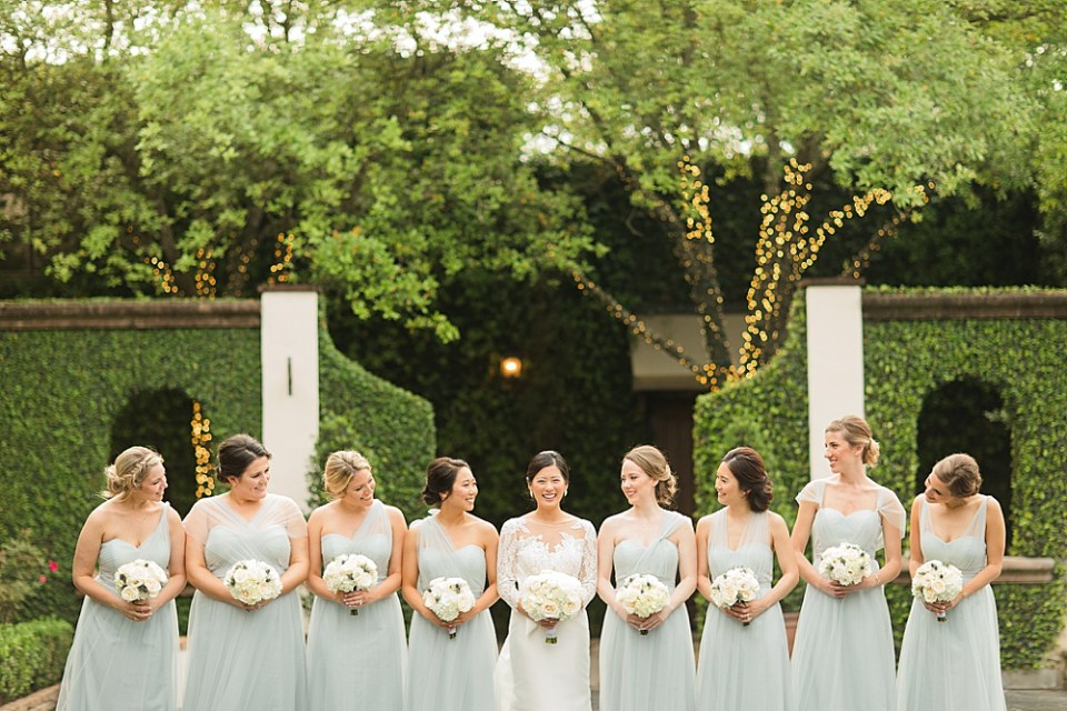 bride and bridesmaids at the bell tower
