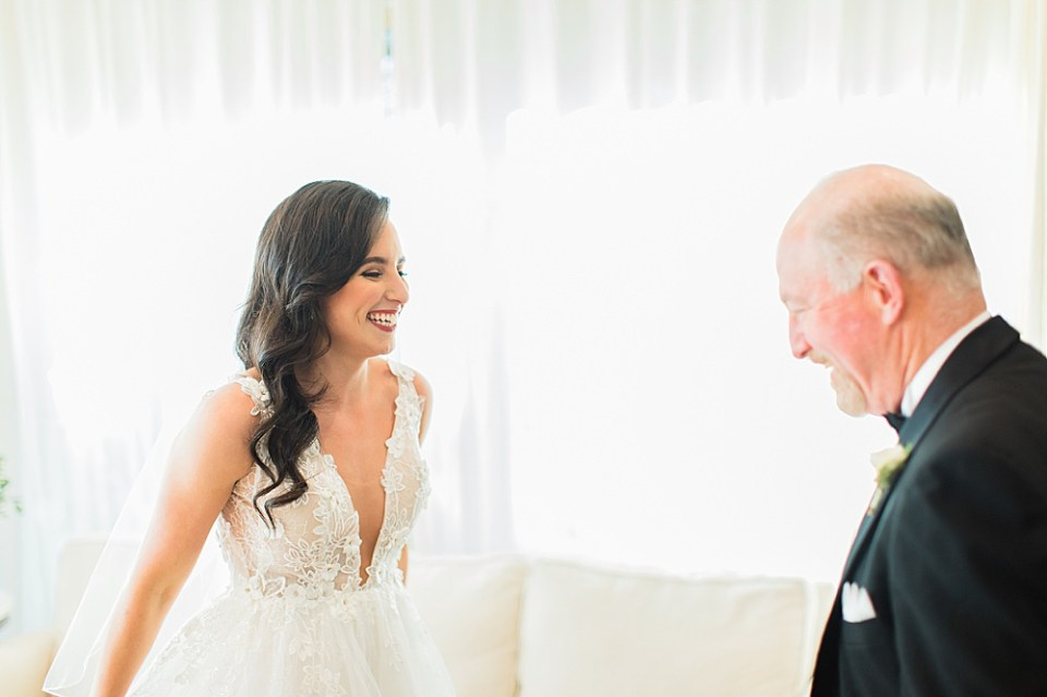 bride and father first look