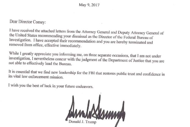 Image result for trump comey letter