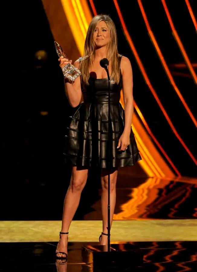 Jennifer Aniston Black Leather Dress Hiding Baby Bump By