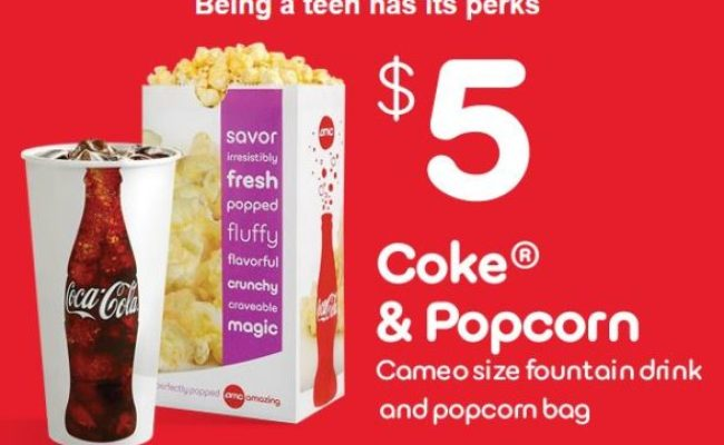 Amc Theatres 5 Fountain Drink Popcorn For Teens The Coupon Project Cute766