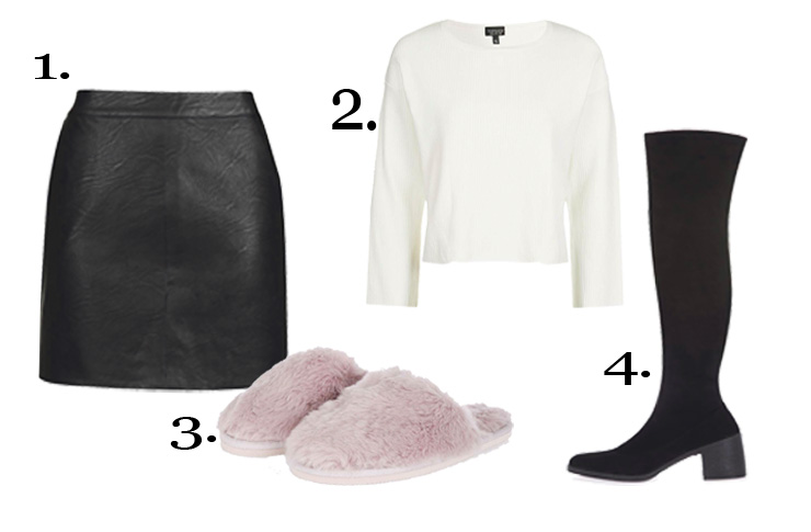 Christmas Day Outfit- 1. Topshop PU Short Pencil Skirt 27A32KBLK £32.00, 2. Topshop Wide Sleeve Rib Crop Jumper 23E14KIVR £32.00 3. Topshop Pink Fluffy Mule Slippers 08C03KPNK £16.00 4. Topshop CAPRI Injected High Knee Sock Boots 32C02KBLK £69.00