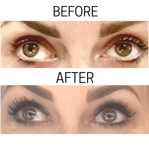 Eva's before and after with the new huda beauty mascara