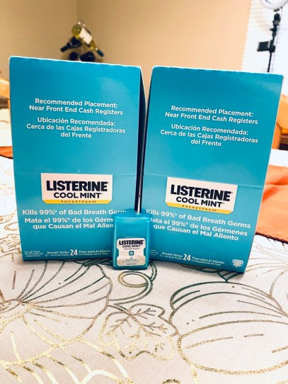 listerine breath strips - they work and are GREAT for your mouth!