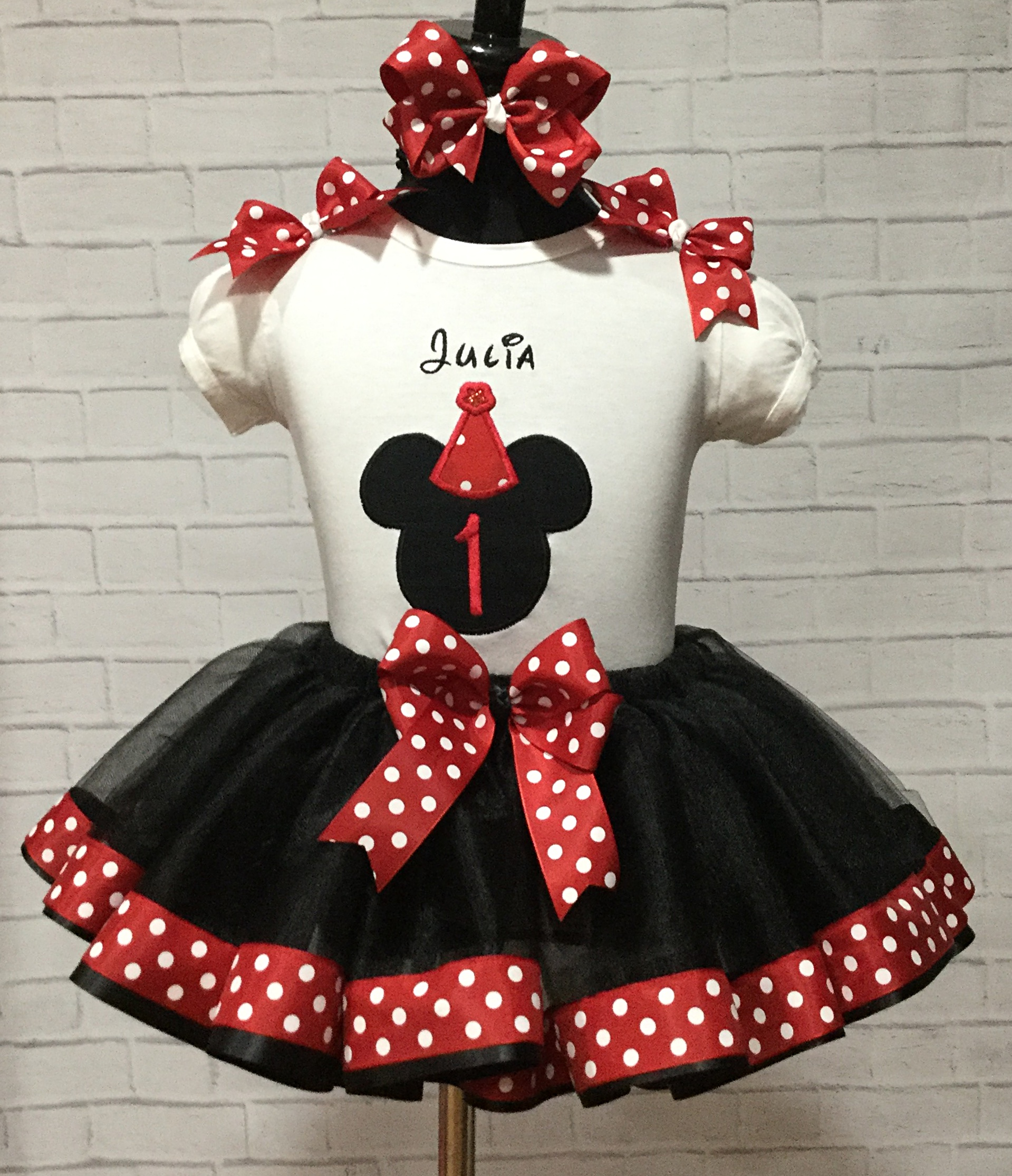 3280aba92 Girls Minnie Mouse Skirt Red And White Polka Dot Twirl 6 9 12 - Year ...