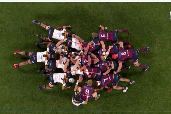 Brumbies and Reds Packing a Scrum