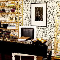 Jonathan Adler Chair Girls Desk With Spotted Wallpaper | The Covetable
