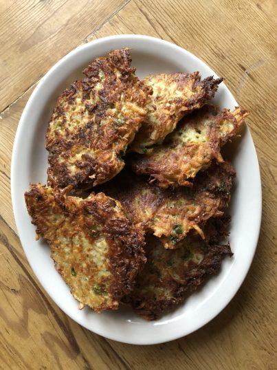 Crispy potato latkes platter