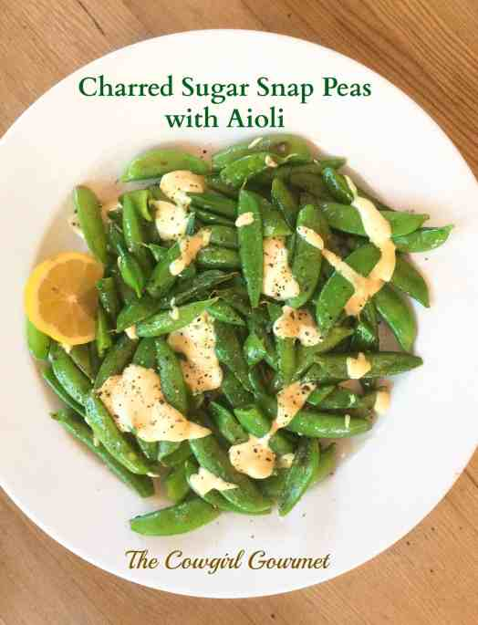 charred sugar snap peas with aioli