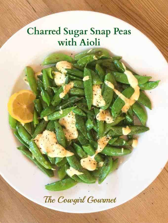 charred sugar snap peas with aioli