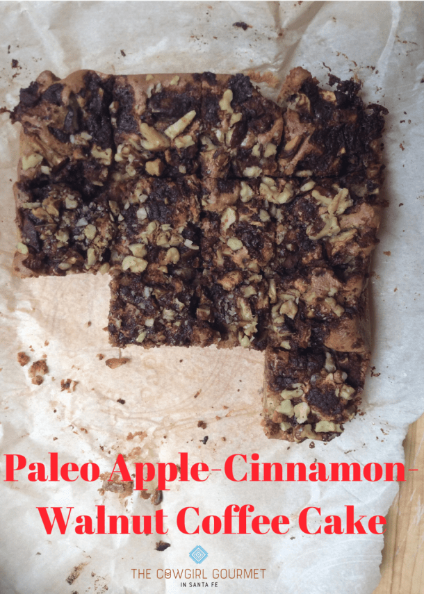 Paleo apple cinnamon walnut coffee cake