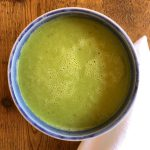 Sunrise Springs pea soup plated