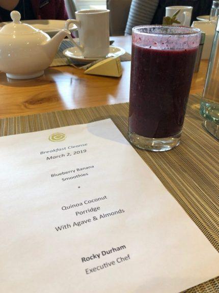 Sunrise Springs blueberry smoothie