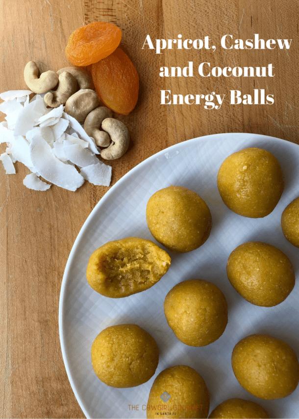 Apricot cashew coconut energy balls