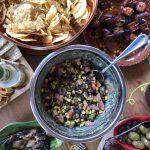 Black bean salsa table spread