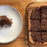 Banana bread brownies baked and plated horizontal