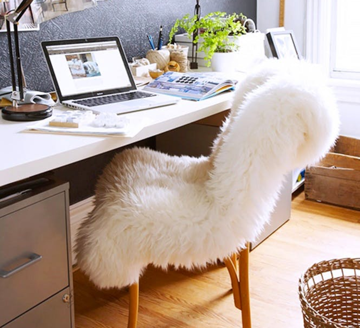 Sheepskin Chair Covers White Fluffy Chair Cover The Cozy Store
