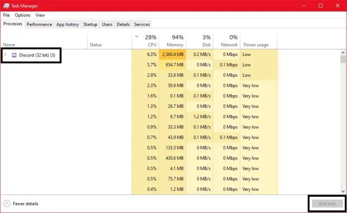 discord won't open end task