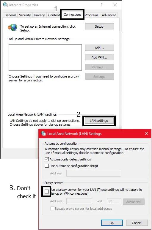 use a proxy lan setting discord wont open