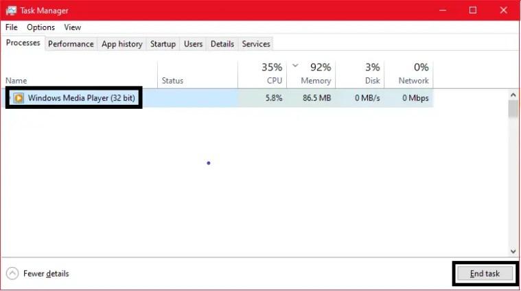 windows media player server execution failed- End task manager