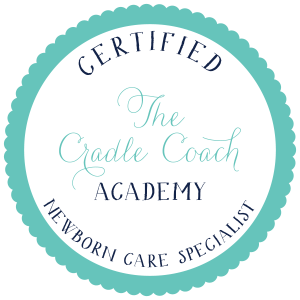 Certified Newborn care specialist badge from The Cradle Coach Academy