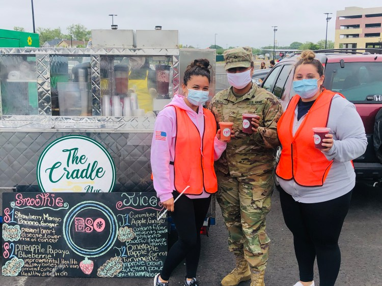 Frontline workers with their ESO juice and smoothies.