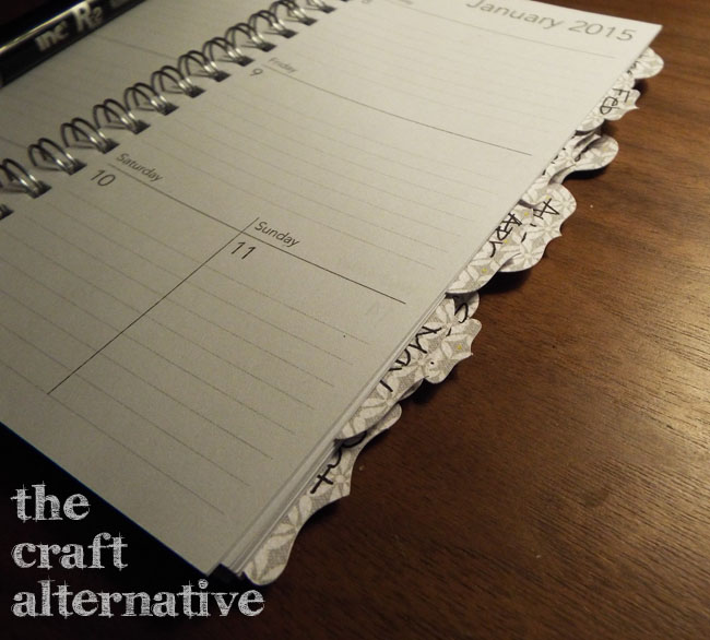 Add Tabs to a Weekly Planner_Glued in Place