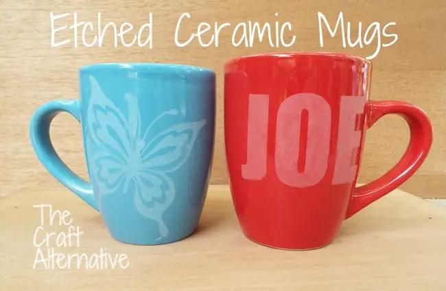 Etched Ceramic Mugs