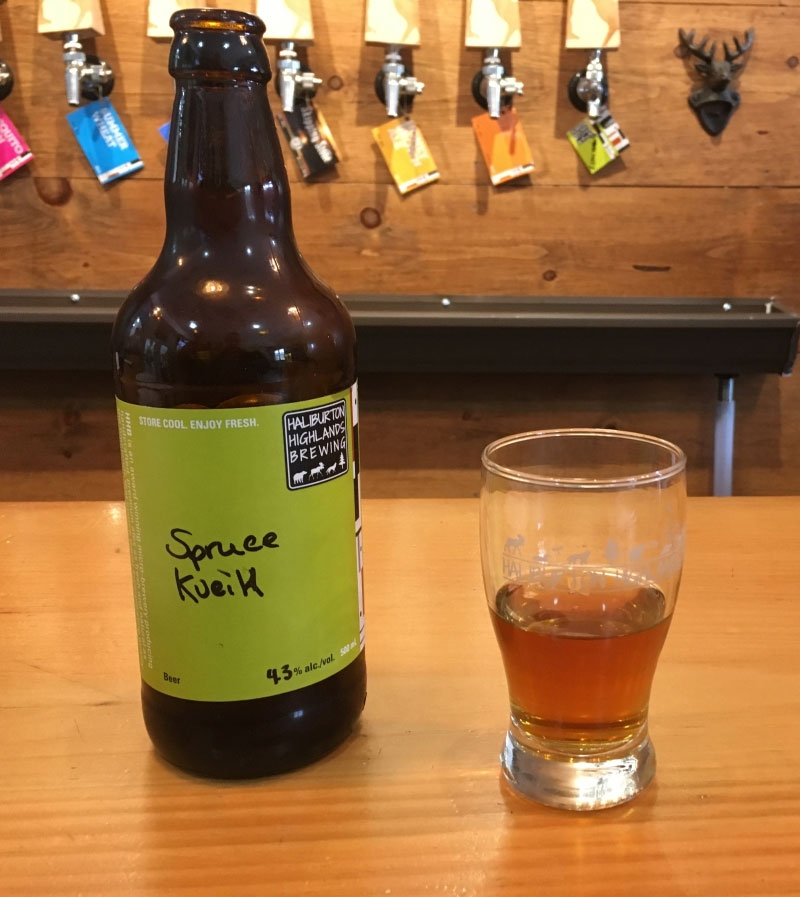 I was at Haliburton, talking to one of the owners about the beers and she brought this out for me to try, right off the bottling line. Click through for the full review.
