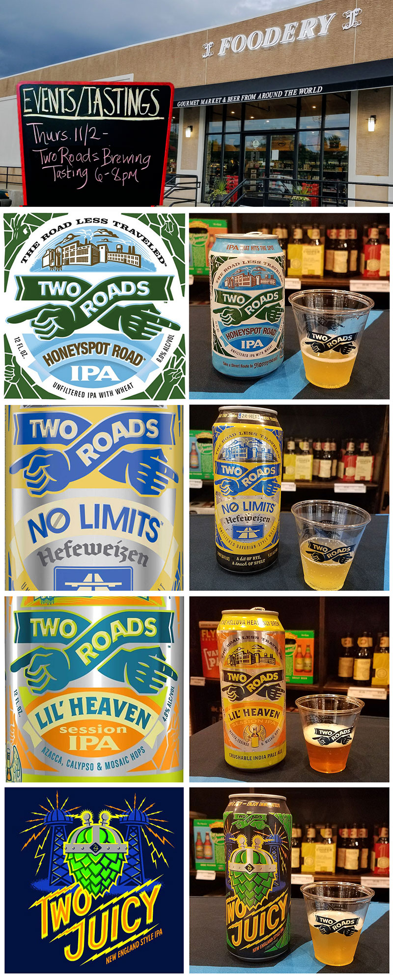 Four craft beer reviews in one, as we taste Two Roads Brewing Company beers at The Foodery in Phoenixville, PA. Covering Two Roads Honeyspot Road, No Limits, Lil' Heaven, & Two Juicy. Click through for the full review.