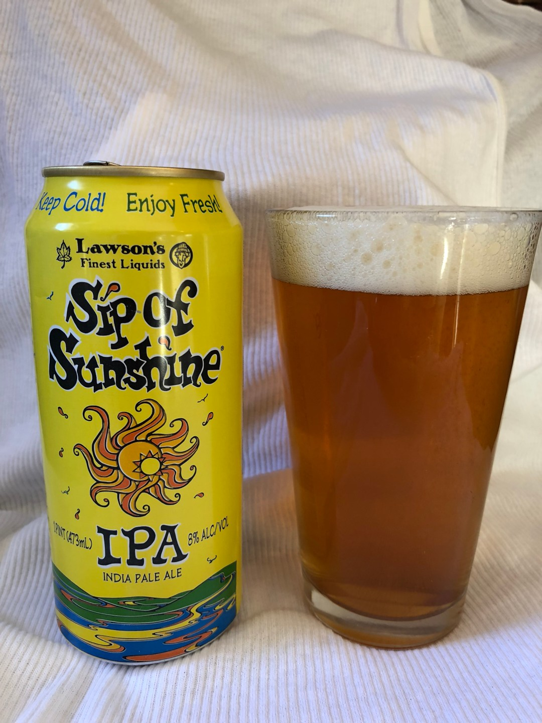 Sip of Sunshine IPA from Lawson's Finest Liquids could easily be a double IPA, with its 8% ABV. But its easy-drinking citrus pour makes for a great IPA!