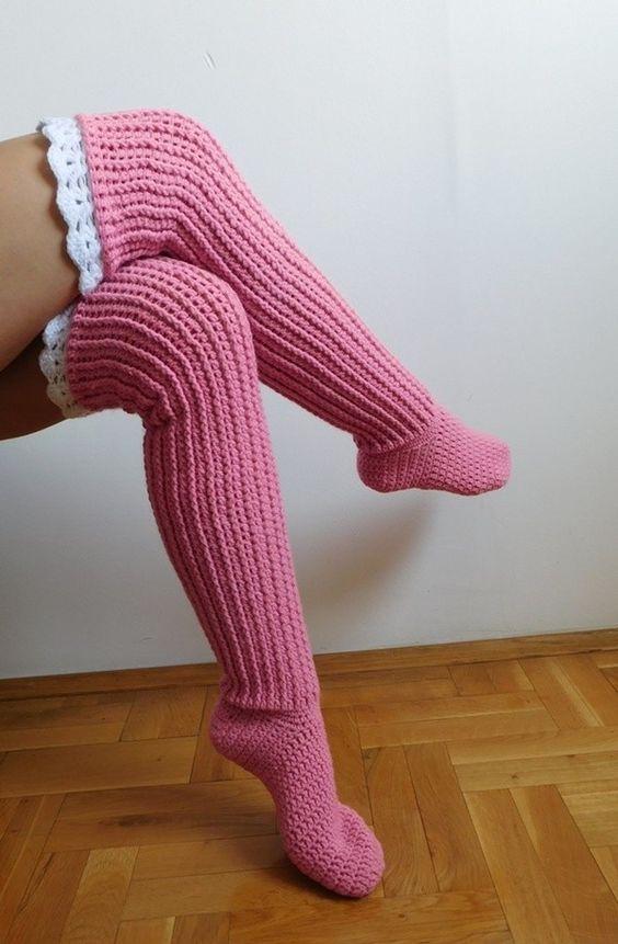 High Knee Crochet Slipper Sock Patterns