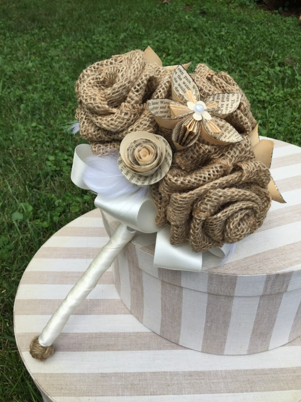 Burlap & Book Page Flower Bouquet